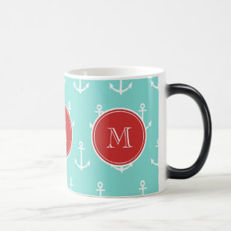 Mint Green White Anchors Pattern, Red Monogram Magic Mug
