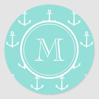 Mint Green White Anchors Pattern, Your Monogram Round Sticker