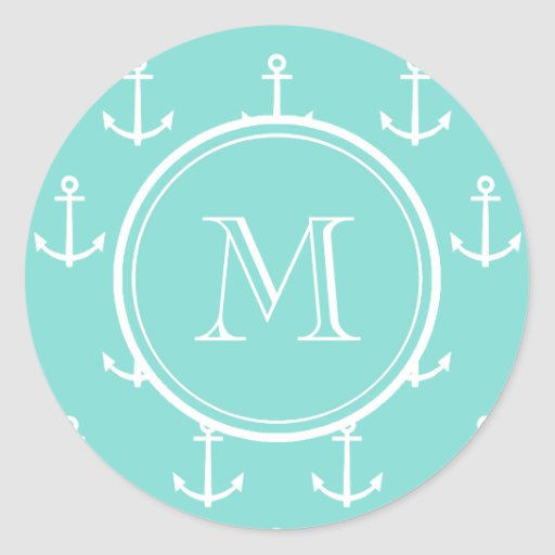 Mint Green White Anchors Pattern, Your Monogram Stickers