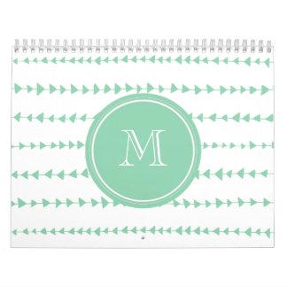Mint Green White Aztec Arrows Monogram Calendars