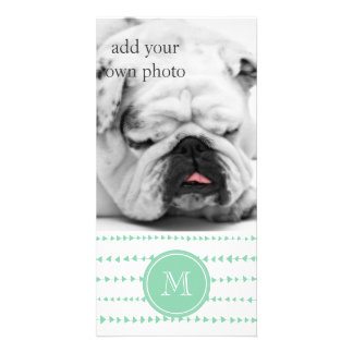 Mint Green White Aztec Arrows Monogram Photo Card Template