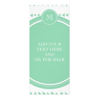 Mint Green White Aztec Arrows Monogram Rack Cards
