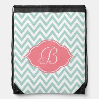 Mint Green White Chevron Light Pink Monogram Drawstring Bag