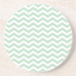 Mint Green White Chevron Pattern Coaster