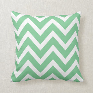 Mint Green White Chevron Zigzag Stripes Pillow