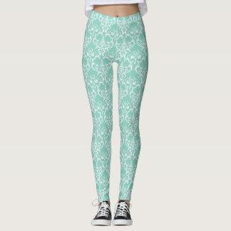 Mint Green & White Damask Pattern Leggings