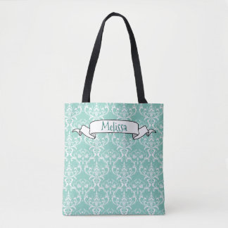 Mint Green & White Damask Pattern Name Template Tote Bag