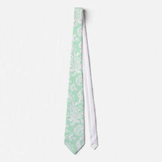 Mint-Green & White Floral Damask Pattern Tie