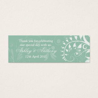 Mint Green White Floral Wedding Favour Tags Mini Business Card