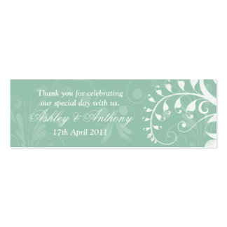 Mint Green White Floral Wedding Favour Tags Pack Of Skinny Business Cards