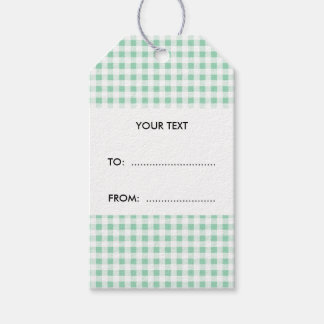 Mint Green White Gingham Pattern Gift Tags