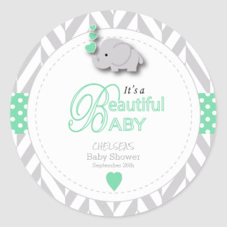 Mint Green, White Gray Elephant Baby Shower Classic Round Sticker