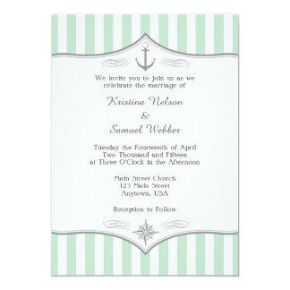 Mint Green White Gray Nautical Wedding Invitation