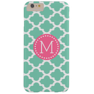 Mint-Green & White Ikat Quatrefoil Pink Accents Barely There iPhone 6 Plus Case