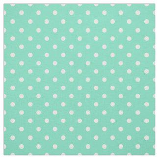 Mint Green White Polka Dot Spot Pattern Fabric