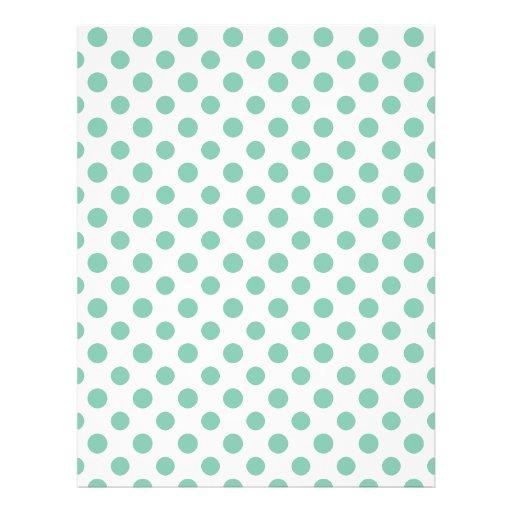 Mint Green White Polka Dots Pattern Flyer