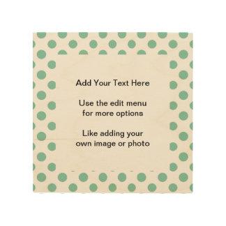 Mint Green White Polka Dots Pattern Wood Prints