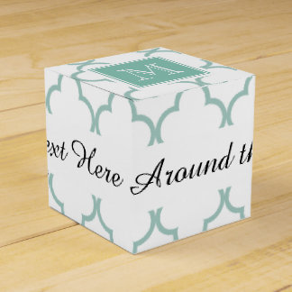Mint Green, White Quatrefoil | Your Monogram Favour Box