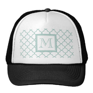 Mint Green, White Quatrefoil | Your Monogram Mesh Hat
