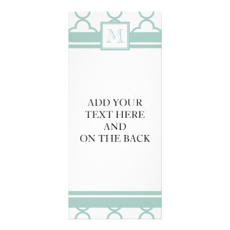Mint Green, White Quatrefoil | Your Monogram Personalized Rack Card