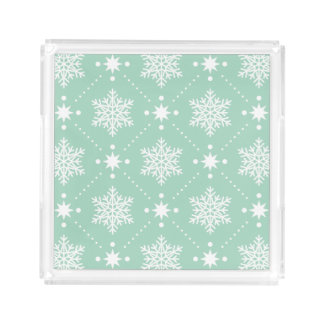 Mint Green White Snowflakes Christmas Pattern Acrylic Tray