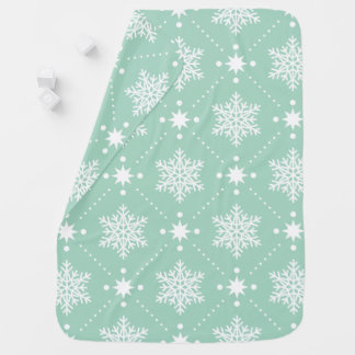 Mint Green White Snowflakes Christmas Pattern Baby Blanket