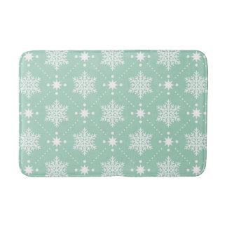 Mint Green White Snowflakes Christmas Pattern Bath Mat