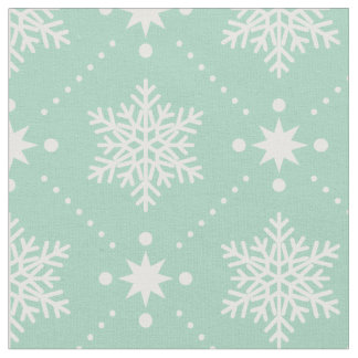 Mint Green White Snowflakes Christmas Pattern Fabric