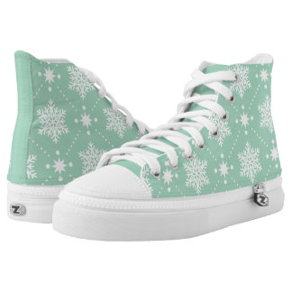 Mint Green White Snowflakes Christmas Pattern High Tops