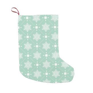 Mint Green White Snowflakes Christmas Pattern Small Christmas Stocking