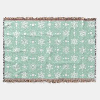 Mint Green White Snowflakes Christmas Pattern Throw Blanket
