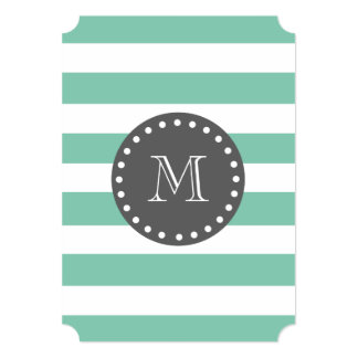 Mint Green White Stripes Pattern, Charcoal Monogra Card