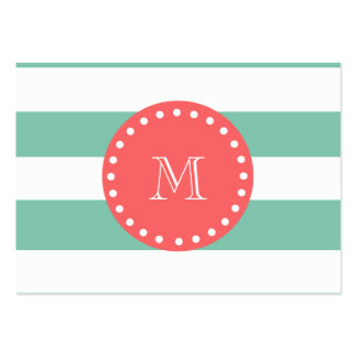 Mint Green White Stripes Pattern, Coral Monogram Business Card Templates