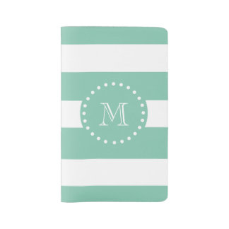 Mint Green White Stripes Pattern, Your Monogram Large Moleskine Notebook