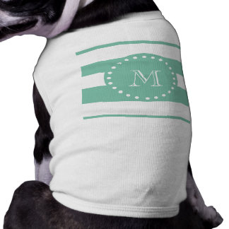 Mint Green White Stripes Pattern, Your Monogram Sleeveless Dog Shirt