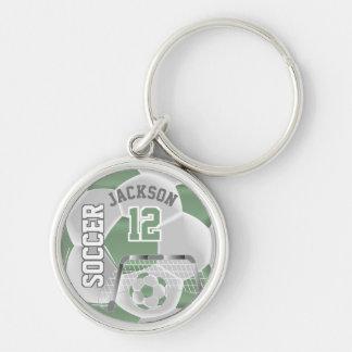 Mint Green & White Team Soccer Ball Key Ring