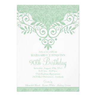 Mint Green White Vintage Lace 90th Birthday Custom Invites
