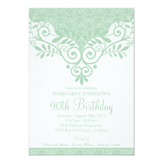 "Mint Green White Vintage Lace 90th Birthday 5"" X 7"" Invitation Card"