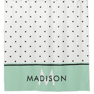 Mint Green with Black and White Polka Dots Shower Curtain