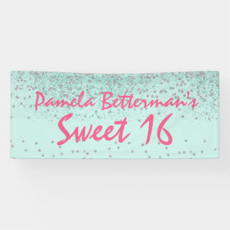 Mint Green with Bling Sweet 16 Banner