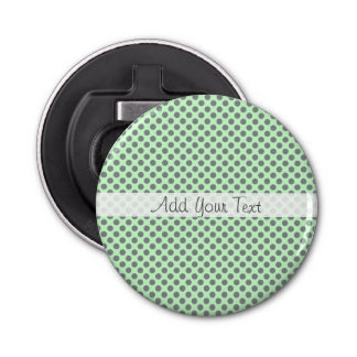 Mint Green with Grey Polka Dots by Shirley Taylor Bottle Opener