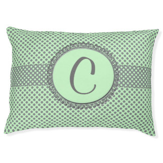 Mint Green With Grey Polka Dots-Monogram