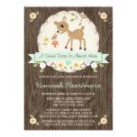 MINT GREEN WOODLAND DEER BABY SHOWER 13 CM X 18 CM INVITATION CARD