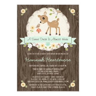 MINT GREEN WOODLAND DEER BABY SHOWER 13 CM X 18 CM INVITATION CARD