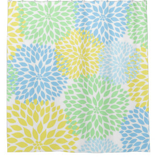 Mint Green Yellow Blue Floral Dahlias blossoms Shower Curtain