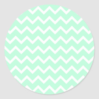 Mint Green Zigzag Chevron Stripes. Round Sticker