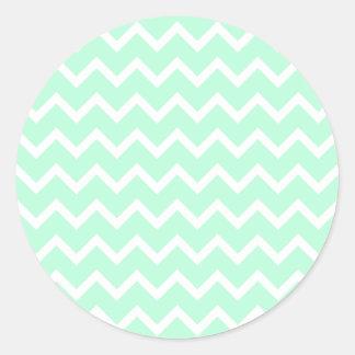 Mint Green Zigzag Chevron Stripes. Round Sticker