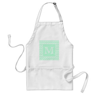 Mint Green Zigzag with Custom Monogram. Standard Apron