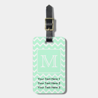 Mint Green Zigzag with Custom Monogram. Luggage Tag