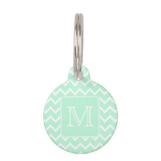 Mint Green Zigzag with Custom Monogram. Pet Name Tag